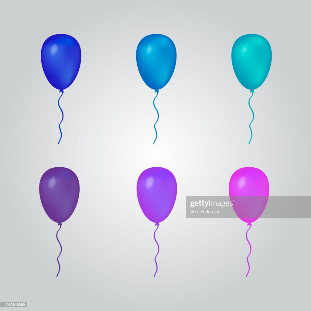 Set of balloons blue and purple. Isolated balloons for your projects.