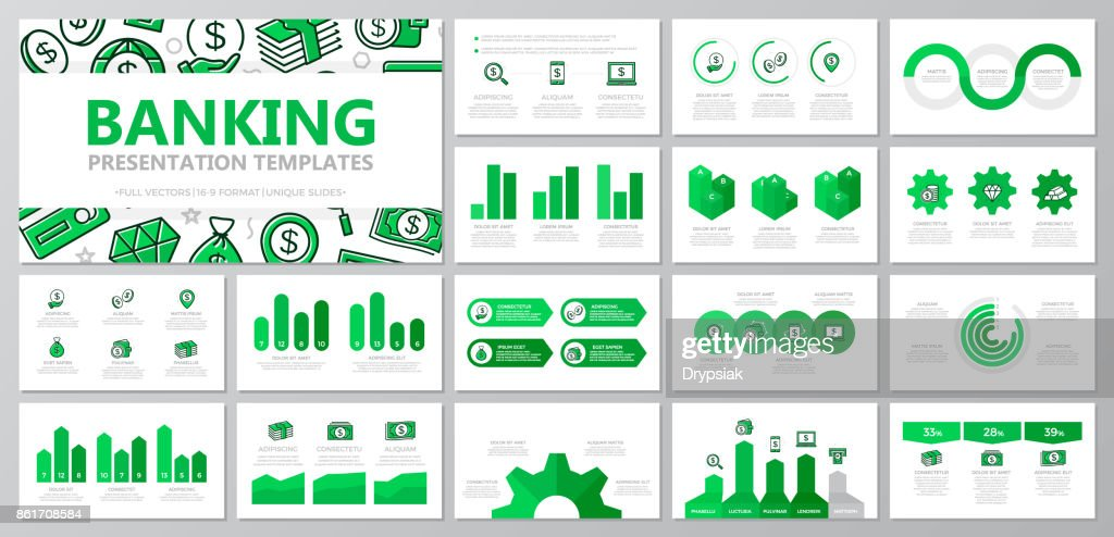 Set of bank and money elements for multipurpose presentation template slides with graphs and charts. Leaflet, corporate report, marketing, advertising, annual report, book cover design.