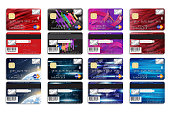 Set of bank cards with different background for your design.