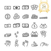 Set of banknote, coin, money bag and money in hand line icon for website, infographic or business, simple symbol. Vector illustration (Editable Stroke)