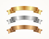 Set of banner ribbon - gold, silver, bronze. Vector illustration.