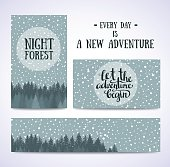 Set of banners and cards with night sky with stars.
