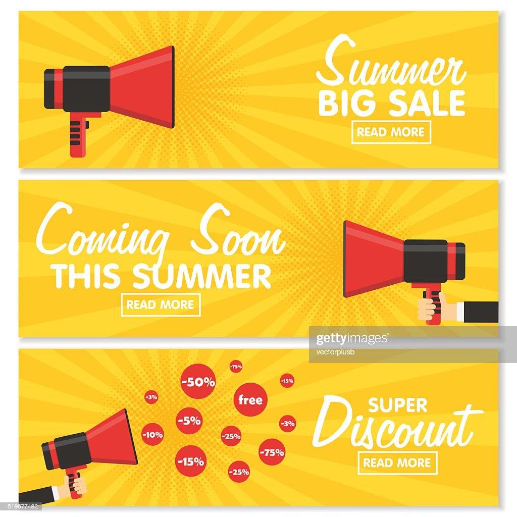 Set of banners. Announcement megaphone on vintage pop art background.