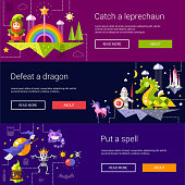 Set of banners, headers, illustrations with fairy tales flat design