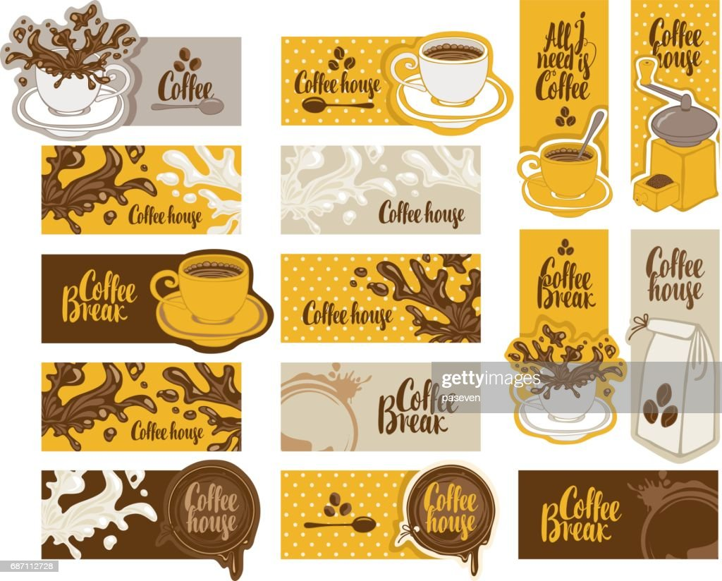 set of banners on the theme of coffee