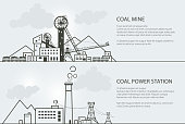 Set of Banners with Coal Mining and Power Station
