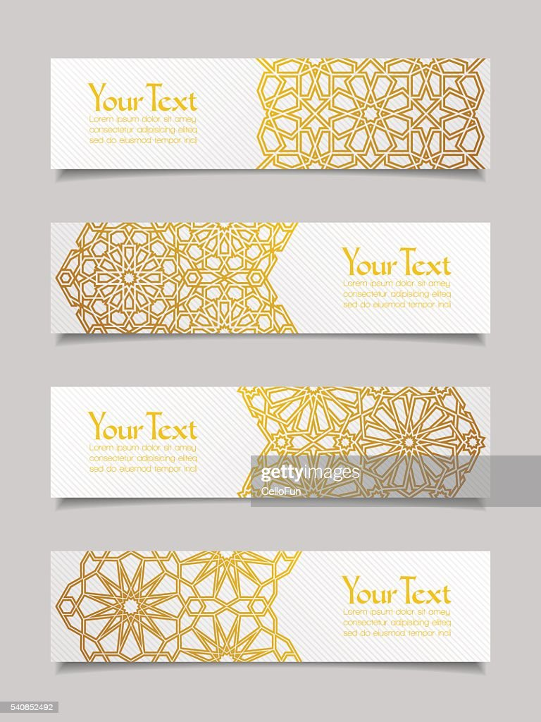 Set of banners with traditional ornament