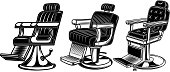 Set of barber chair illustrations. Design elements for label, sign, badge