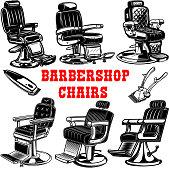 Set of barber shop chair illustrations. Design element for label, emblem, sign.