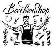 Set of barbershop. Figure hairdressers professional barbershop tools.