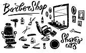 Set of barbershop. Hairdresser's chair. Professional barbershop tools.