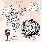 Set of barrel of wine, grape, wineglass and cheese