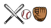 Set of baseball equipment illustrations contains bat, gloves and ball.