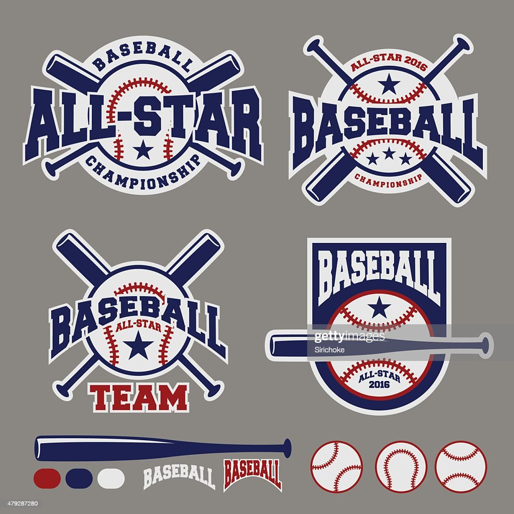 Set of baseball sport badge logo design template
