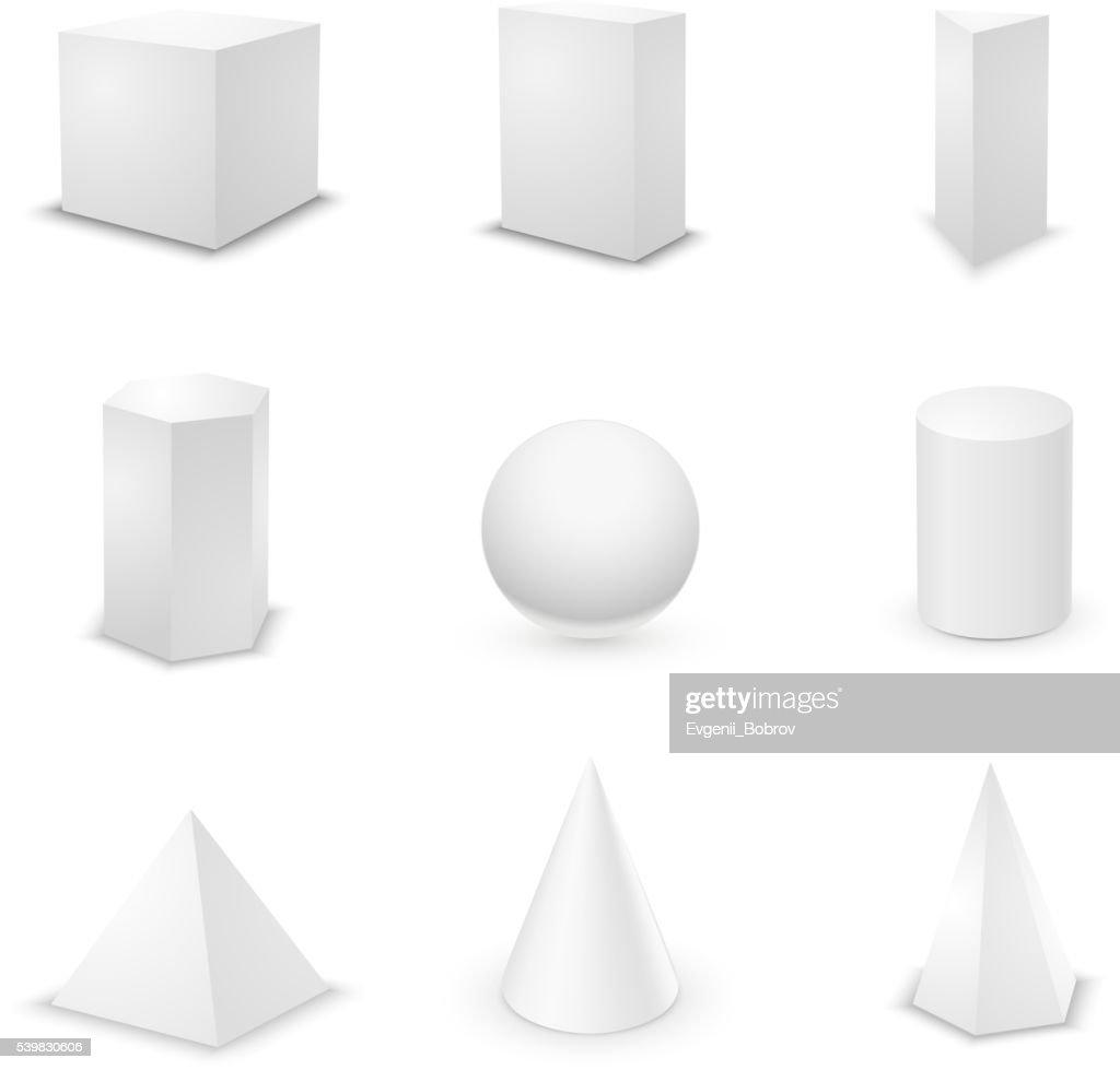 Set of basic elementary geometric shapes