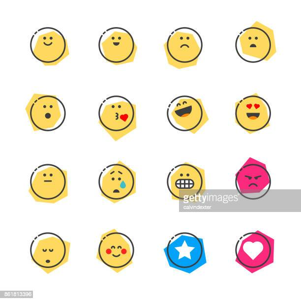 Set of basic emoticons reactions