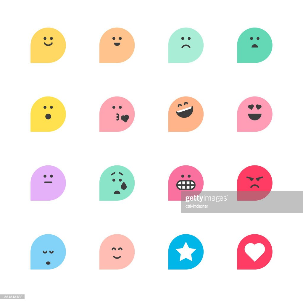 Set of basic emoticons reactions : stock vector