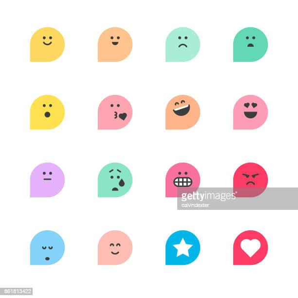set of basic emoticons reactions - cute stock illustrations