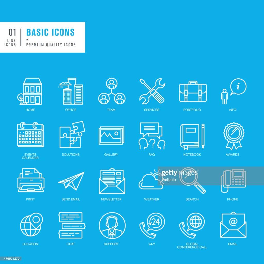 Set of basic thin lines web icons