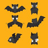 Set Of Bat Cartoon With Different Actions