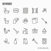 Set of bathroom equipment thin line icons. Vector illustration. Hygiene, purity, beauty, plumber related icons.