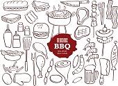 Set of BBQ doodles