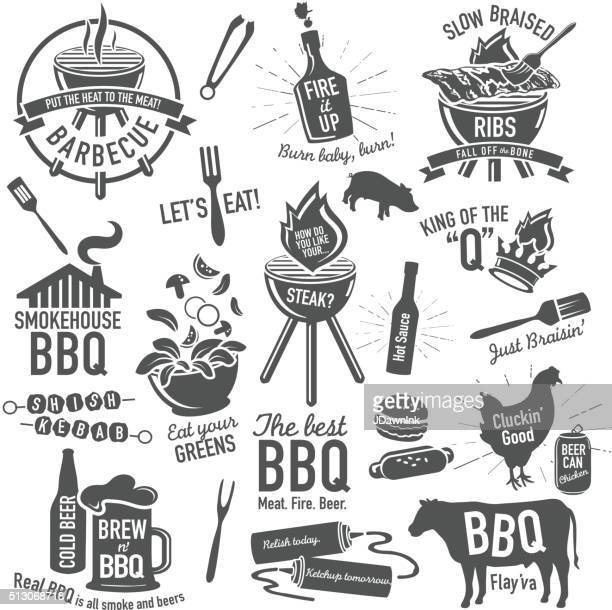 Set of BBQ themed icons labels with phrases or sayings
