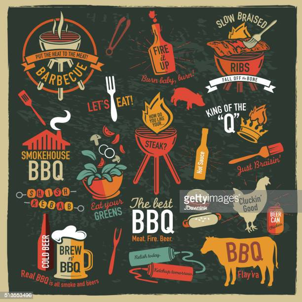 set of bbq themed icons labels with phrases or sayings - sauce stock illustrations