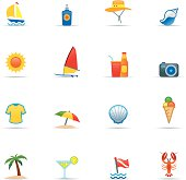 Set of beach and holiday icons on white background