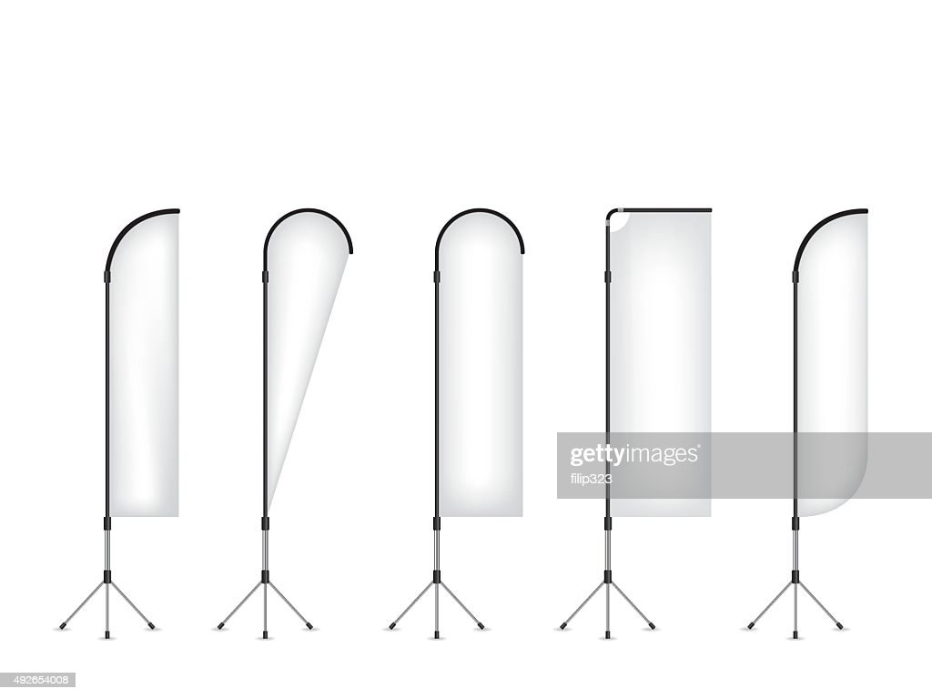 Set of beach flag banner stand
