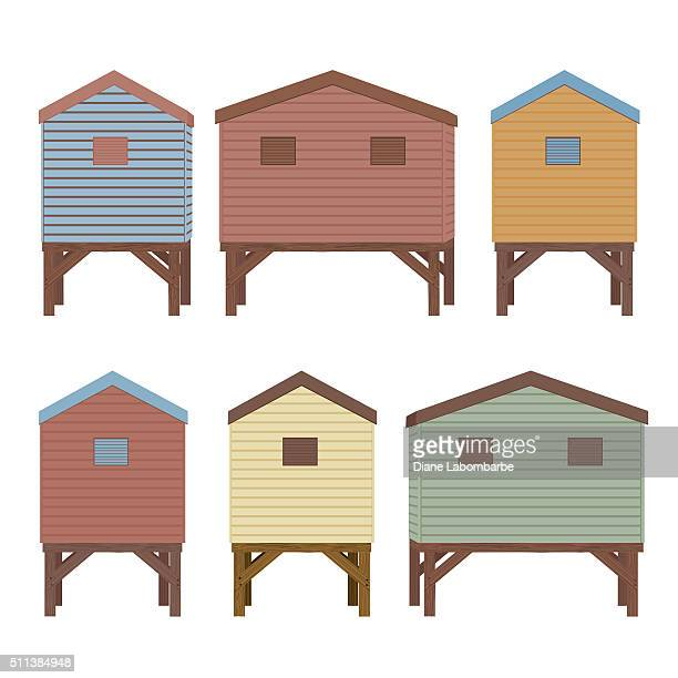 Set Of Beach Huts In Pastel Colors