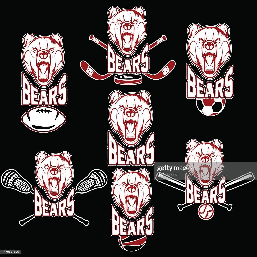 set of bear sports labels