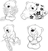 set of bears coloring book
