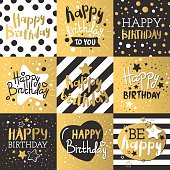 Set of beautiful birthday invitation cards decorated with colorful balloons