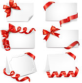 Set of beautiful cards with red gift bows andribbons