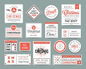 Set of beautiful Christmas themed labels and greeting cards