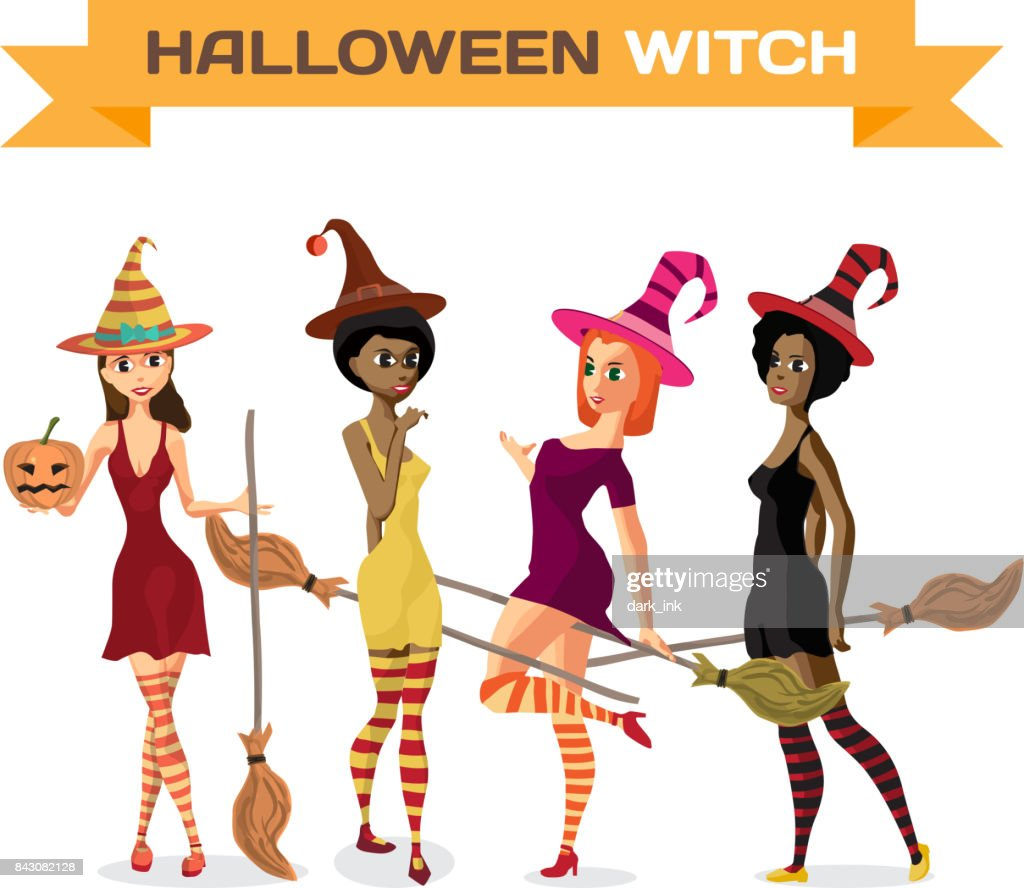 Set of beautiful girls witches in dress, hat and stockings with a broom