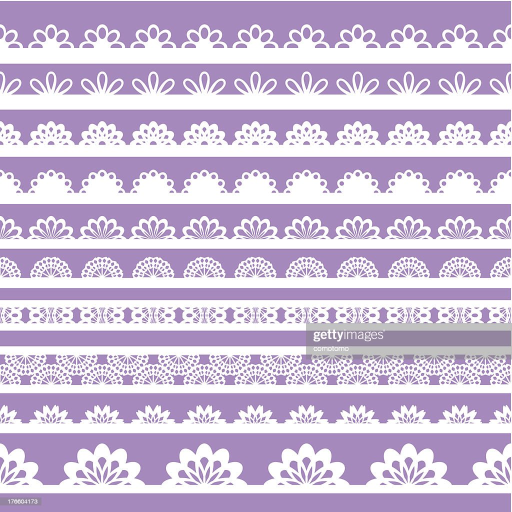 Set of beautiful lace vector trims on a violet background