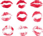 Set of beautiful red lips print on isolated white background