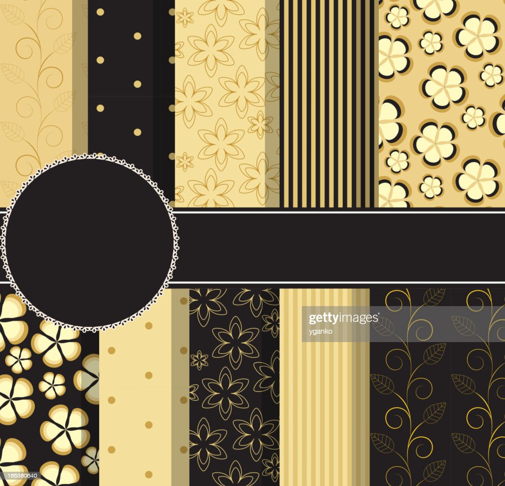 set of beautiful vector gold and black paper for scrapbook