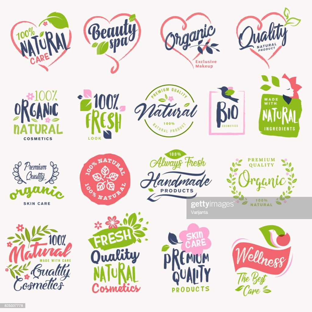 Set of beauty and cosmetics, spa and wellness badges and stickers