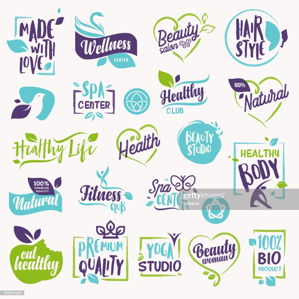 Set of beauty and cosmetics, spa and wellness labels and elements