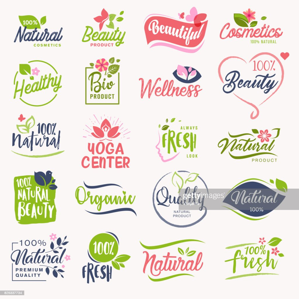 Set of beauty and cosmetics, spa and wellness signs