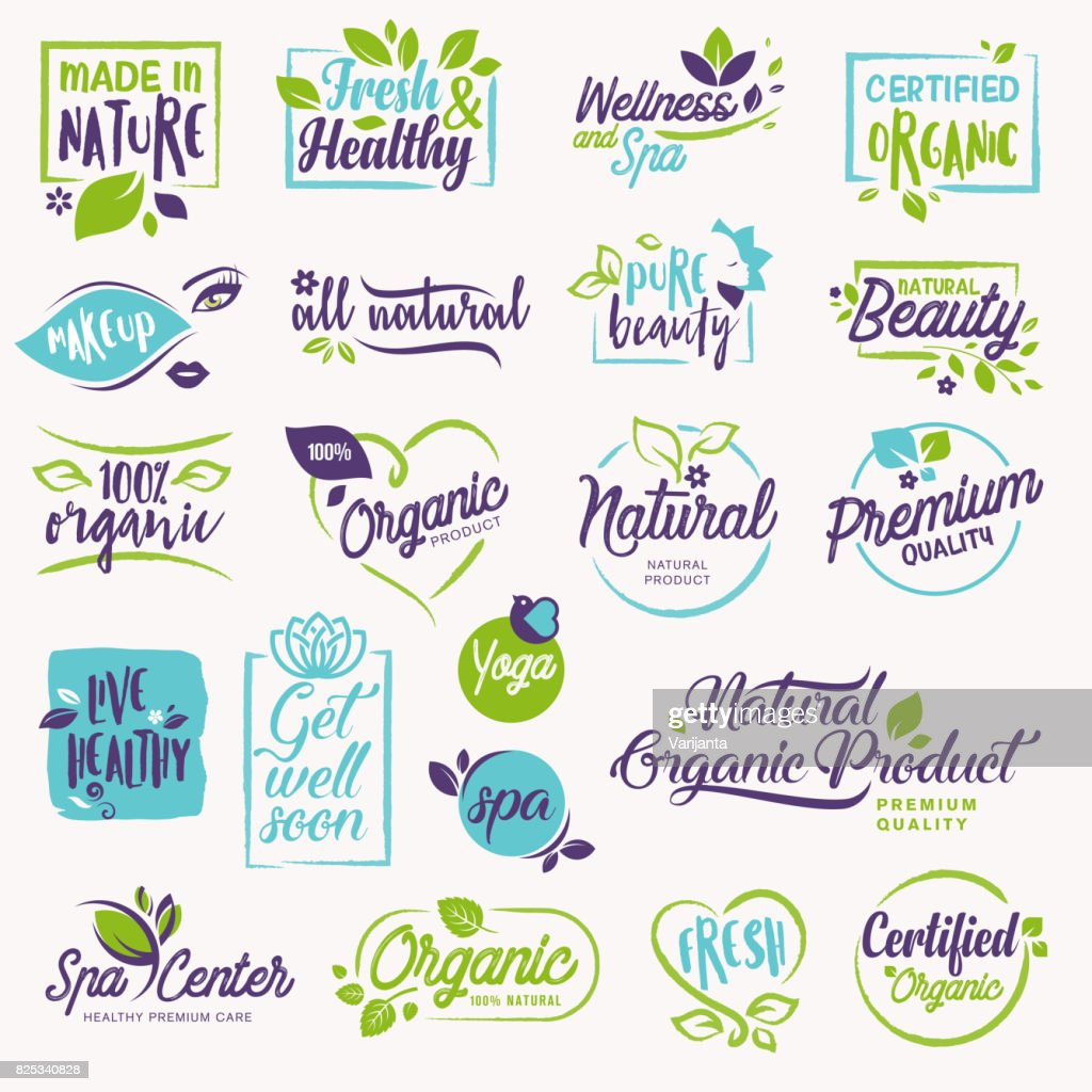 Set of beauty and cosmetics, spa and wellness stickers and elements