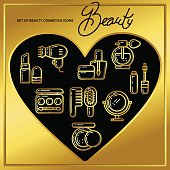 Set of beauty cosmetics icons drawn in gold lines on a black heart_1