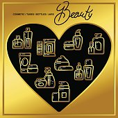 Set of beauty cosmetics icons drawn in gold lines on a black heart_2