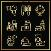 Set of beauty cosmetics icons drawn in gold lines on a black background_3