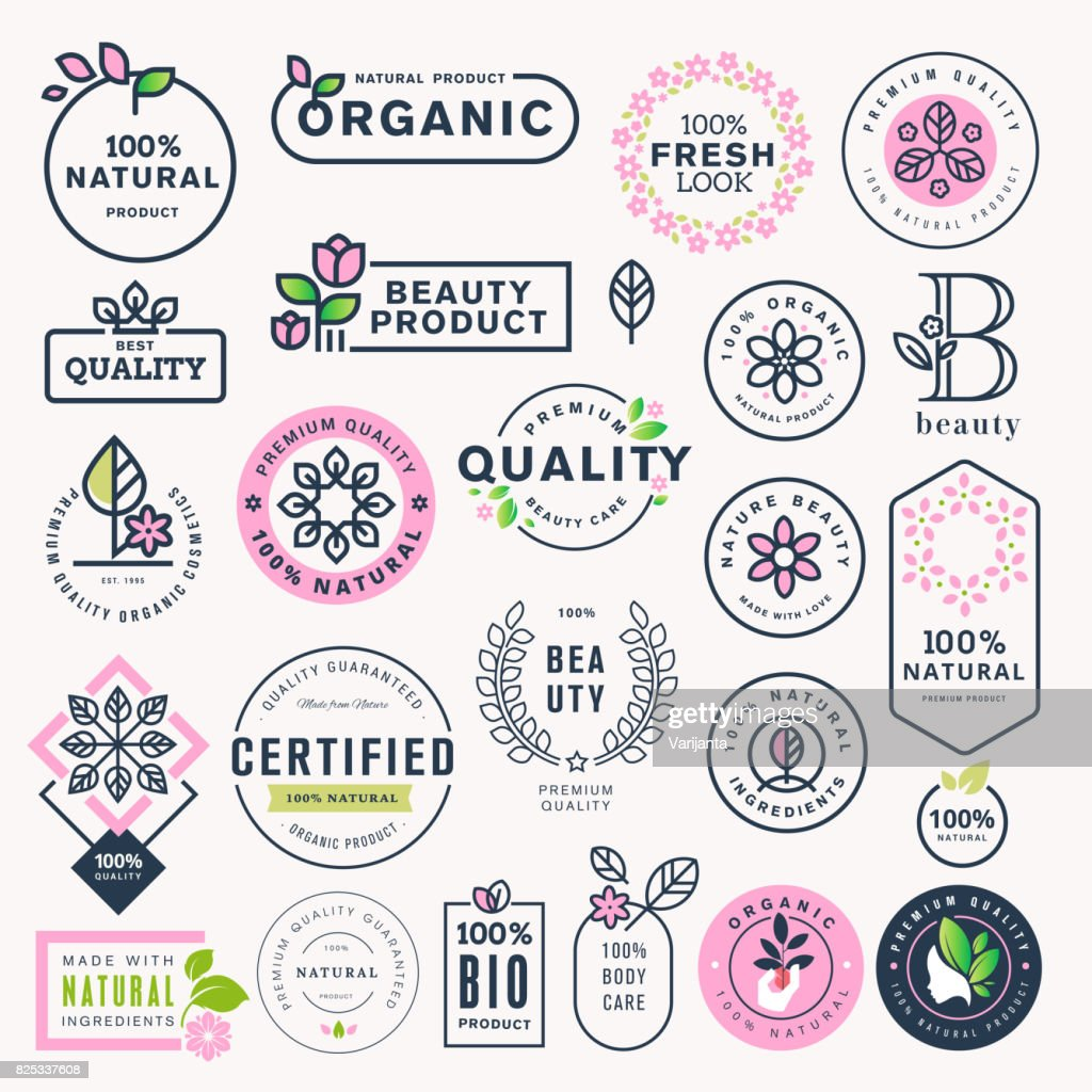 Set of beauty, natural cosmetics and healthcare labels and stickers