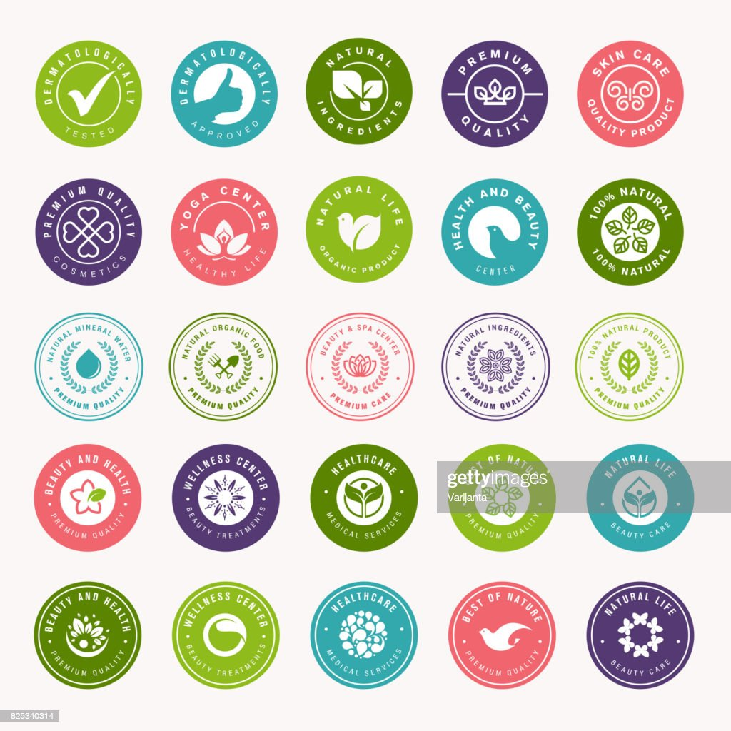 Set of beauty, natural cosmetics and healthcare stickers