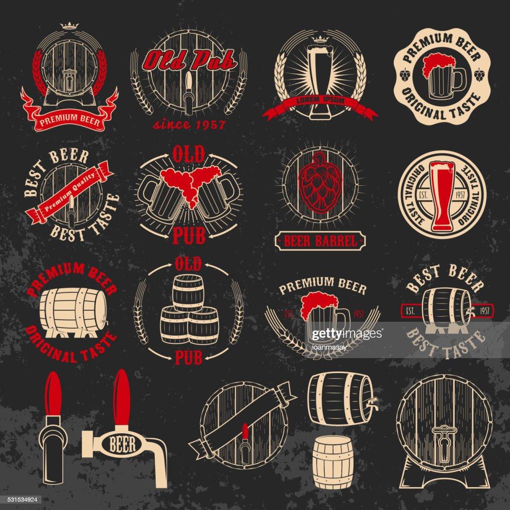 Set of beer labels design elements on grunge background. Design